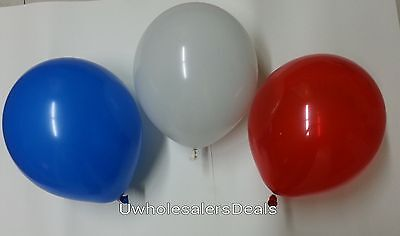 Red White Balloons (30 Latex Balloons Red White Blue Patriotic Tricolor 4th July Celebration)