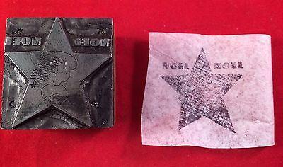 Vintage Printing Letterpress Block- Christmas Star Noel Noel