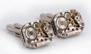 VINTAGE-WATCH-MOVEMENT-CUFFLINKS-STEAMPUNK-MENS-GIFT
