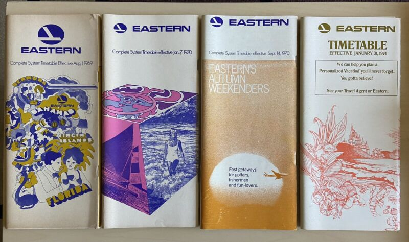 Eastern Airlines Timetables (Set of 4)