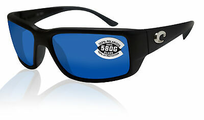 Costa Del Mar Fantail Matte Black Frame Blue Mirror 580G Glass Polarized Lens (Glasses Black Frame Mirrored Lens)