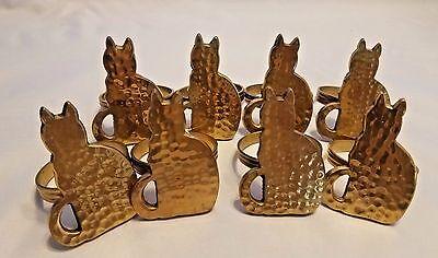 Vintage Brass Cat Napkin Ring Holder Set of 8 Brass Hand Hammered