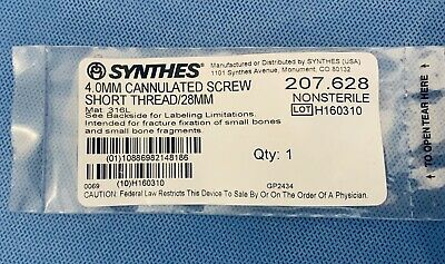 Synthes 4.0mm Cannulated Screw   Short Thread28mm. 207.628