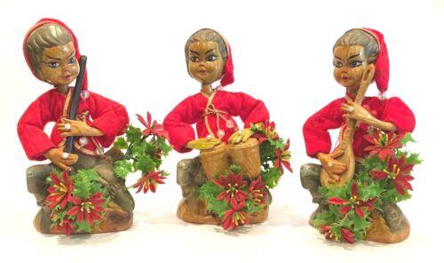 "Pixie Elves Playing Instruments Hard Plastic Set of 3 ~ 7-1/2"" Vintage"