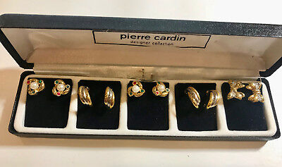 PIERRE CARDIN DESIGNER COLLECTION 5 PAIR OF  EAR RING IN A GIFT BOX for sale  Shipping to India