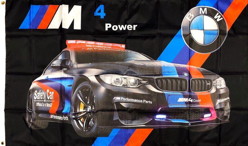 BMW M4 Flag 3x5 ft Black Racing Banner Power M Power Man-Cave Car Club Garage