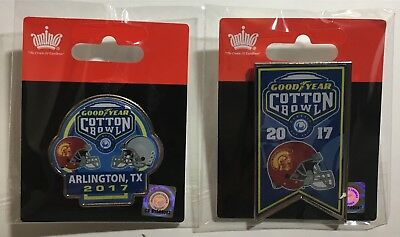 2017 Cotton Bowl Pin Set  Dueling Usc Trojans Ohio State Buckeyes   Usc Banner