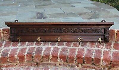 "Antique French Oak LARGE Wall Shelf Kitchen Copper Pot Rack Hat Coat Rack 46"" W"