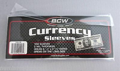 BCW U.S. Currency Sleeves (Holds 6 1/2