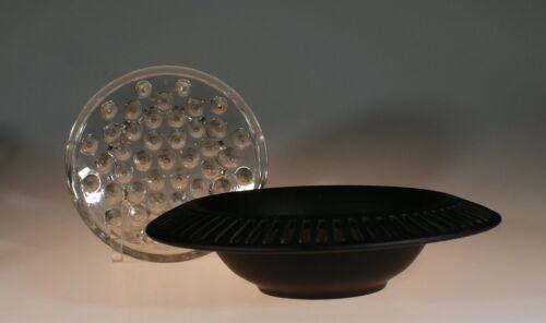 Tiffin Glass Black Satin Glass Open Work Bowl Large 2 lb Crystal Frog c.1930