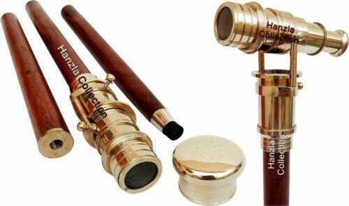 Vintage Brass Telescope Spy Head Handle Foldable Wooden Walking Stick Cane Gift
