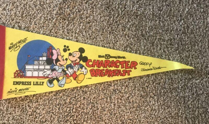 Vintage Walt Disney World Character Breakfast Empress Lilly Signature Pennant