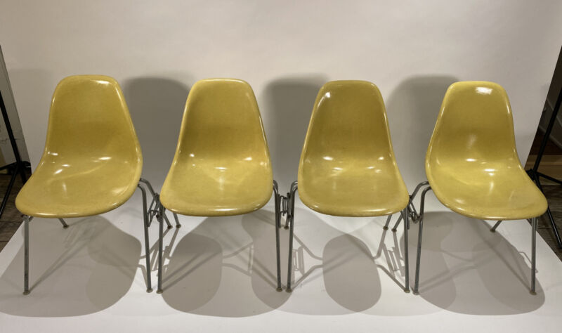 Eames Herman Miller Shell chairs stackers set of 4 yellow