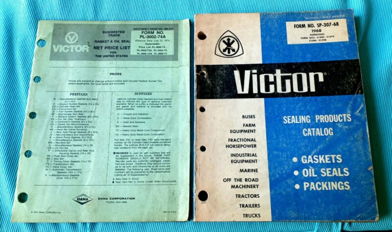 VICTOR SEALING GASKETS PRODUCTS 1968 CATALOG AND 1974 PRICE LIST Dana Toledo OH