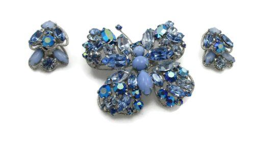 Vintage Regency Signed Blue Rhinestone Butterfly Brooch Earring Set Pin Jewelry
