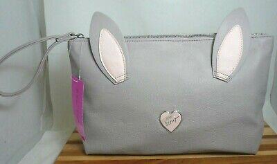 - Betsey Johnson Bunny Rabbit Kitsch Lg Clutch Bag Purse, Grey Blush #TBJ-0339 NWT
