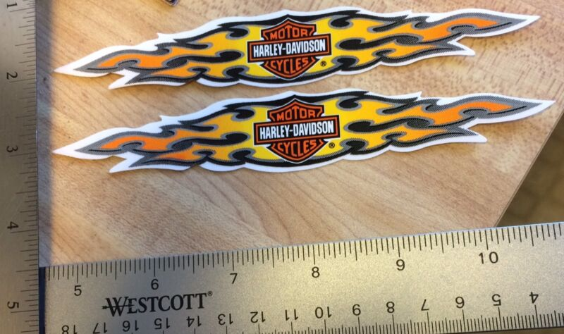 2 Harley-Davidson Flames OUTSIDE  Decals.Vintage Harley Stickers.1 X 6. NOS