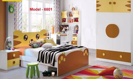 Kids Bedroom Set with Bed, Bedside, Wardrobe, Study Table - 6601