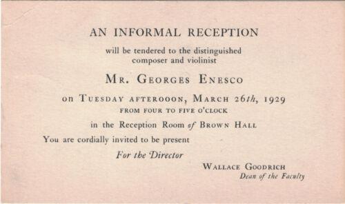 George Enescu invitation Enesco New England Conservatory violin violinist