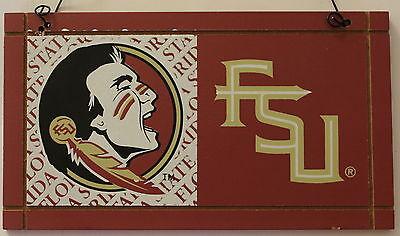University Florida State Seminoles College NCAA Wood Plaque Sign Dorm a ()
