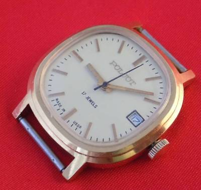 MINT wrist watch Poljot mechanical Gold plated case Soviet USSR CCCP 17 jewels