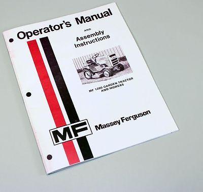Massey Ferguson 1200 Lawn Garden Tractor Mower Owners Operators Manual Operation