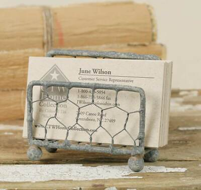 Gray Chicken Wire Metal Business Card Holder Pocket Distressed Farmhouse Country
