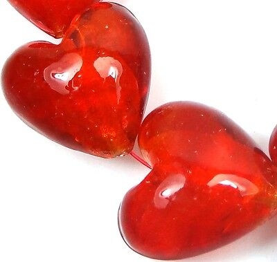- 6 Lampwork Handmade Glass Silver Foil Hyacinth / Red Orange Heart Beads 22mm