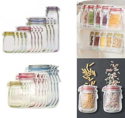 Lot Mason Jar Zipper Bags Food Storage Snack Sandwich Ziplock Reusable Clear Usa