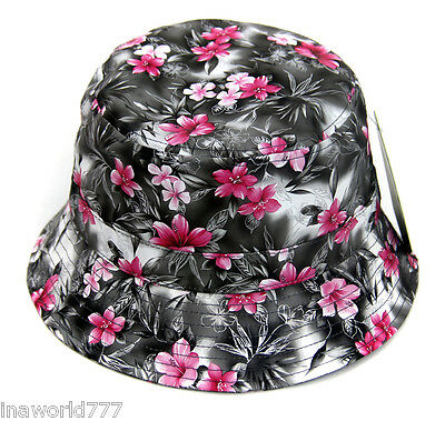 Flower Bucket hat Boonie cap Fishing Hiking Outdoor Faux Leather- Gray (Cap Outdoor Base)