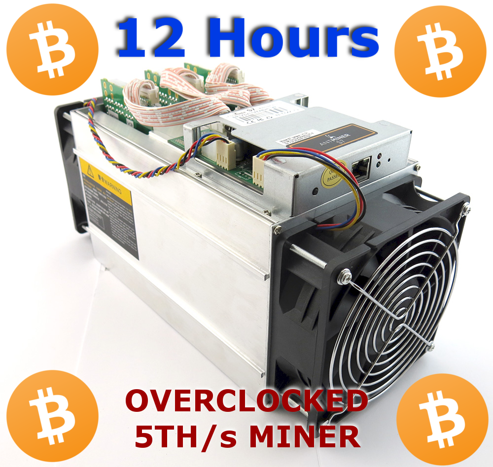 BITMAIN ANTMINER S7 5.0TH/S SHA CRYPTO MINING CONTRACT - RENT A MINER - 12 HOURS