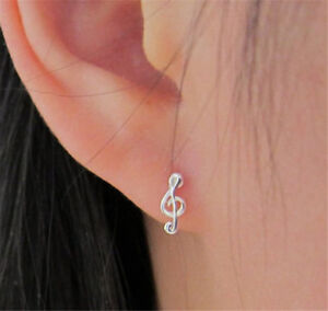 925 Silver Small Treble Clef Music Note Sign Stud Earrings For Women Jewelry