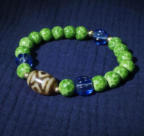 Old Tibetan Daluo DZI Bead Amulet Bracelet