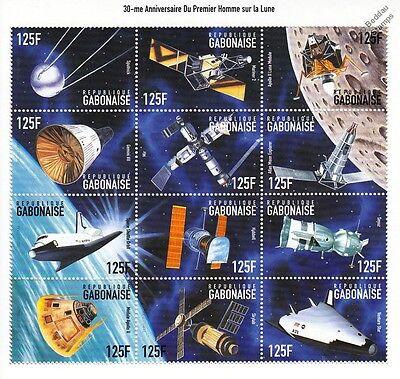APOLLO XI Moon Landing/Satellites/Shuttle/Sputnik Space Stamp Sheet (1999 Gabon)