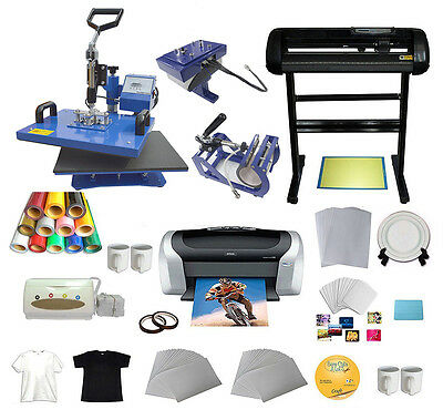 New 5 In 1 Combo Heat Press Vinyl Cutter Plotter Printer Business Bundle