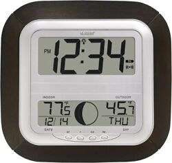 Atomic Indoor Wall Clock with Moon Phase N Indoor Outdoor Temperature BRAND NEW