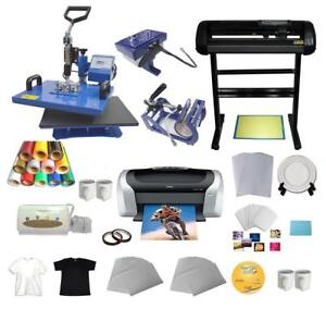 5 in 1 Combo Heat Press Vinyl Cutter Plotter Printer  Business Bundle#004957