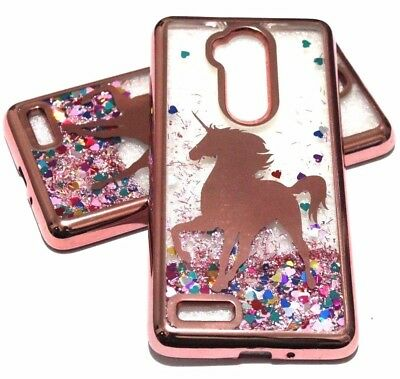 (For ZTE MAX BLUE - Rose Gold Unicorn Glitter Hearts Liquid Water Case Cover)