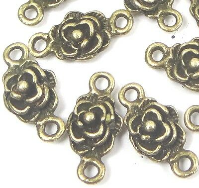 25 Antique Bronze Pewter Rose Link Connector - Pewter Rose Charms