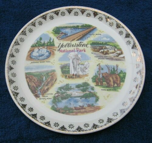 Vintage Yellowstone National Park Collector Plate Old Faithful Bear Lake Pool~a
