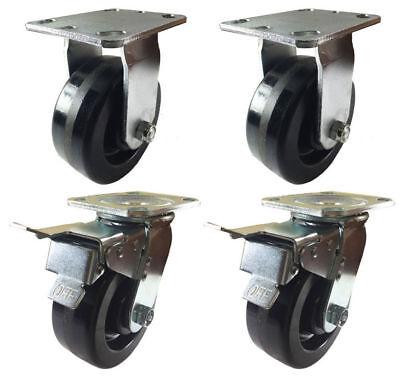 4 Heavy Duty Caster Set 4 5 6 8 Phenolic Wheels Rigid And Total Lock Brake
