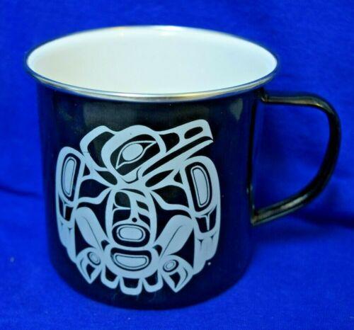 Native Tsimshian Raven Design on enameled Coffee Cup by Corey W. Moraes