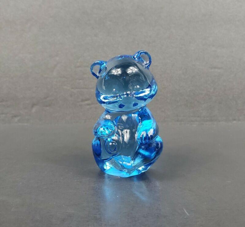 """Vintage Fenton Art Glass Misty Turquoise Blue 3"""" Mini Bear Seated Figurine EUC"""