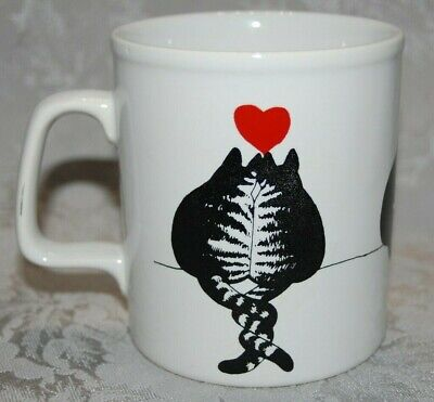 Kliban Cat Coffee Mug Valentine's Day w/ Red Heart Over 2 Cats w/Tails Entwined