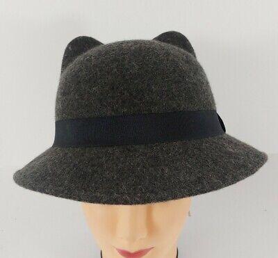 Zara Accessories Women's Cat Animal Ear Solid Gray Wool Fashion Hat Cap Cloche
