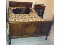 Vintage 1930s wooden double bed