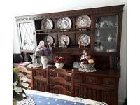 Magnificent Solid Oak Large Dresser / Sideboard / Display Cabinet.
