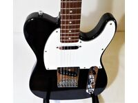 ELECTRIC GUITAR & PRACTICE AMP BLACK WESTFIELD TELECASTER COPY + KUSTOM AMP IN GREAT CONDITION