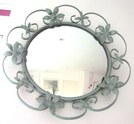 """ROUND FLORAL MIRROR WITH FRAME Overall diameter 17"""", Mirror diameter 12"""""""
