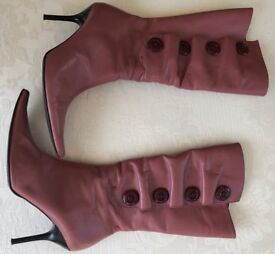 Dusky pink calf length boots - size 6, fit a size 7 - Roberto Vianni